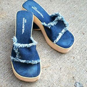 Womens denim wedge heel sandals 7
